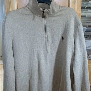 POLO RALPH LAUREN HERRINGBONE 1/4 ZIP SZ LARGE TAN